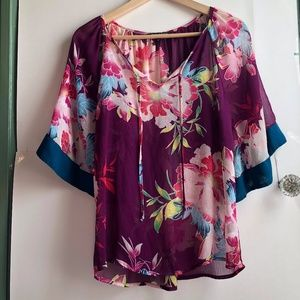 EXPRESS Purple Floral 3/4 Sleeve Peasant Blouse XS